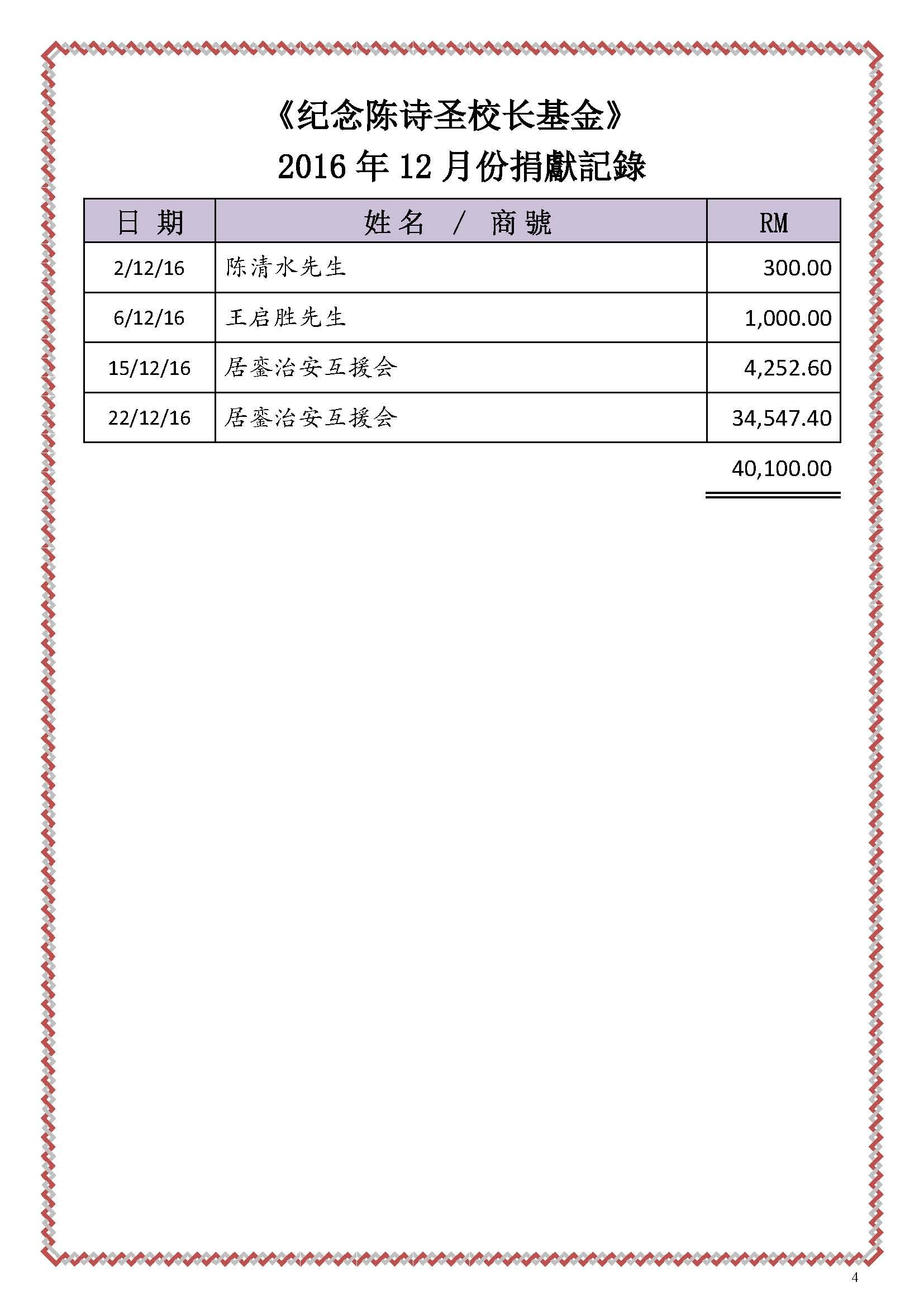 2016年12月份捐献名单