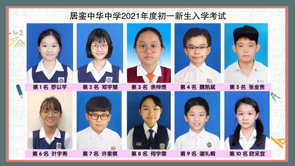 2021年度初一新生十大
